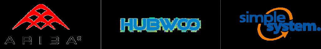 Logos der Onlinemarktplätze Ariba, Hubwoo, Simple-System