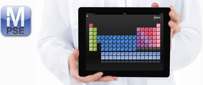 Tablet-Computer mit Periodensystem von Merck