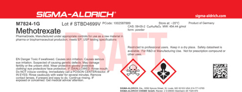 Altes Etikett der Marke Sigma-Aldrich vor dem Merck Rebranding