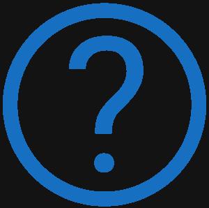 Logo mit einem Fragezeichen in einem blauen Kreis.